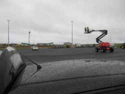 Cherry picker in use on Orkney to film the Electric Vehicles